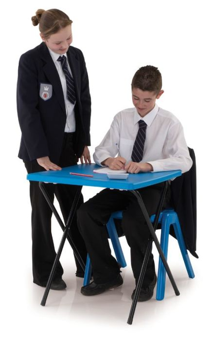 20 Polypropylene Exam Desks & Trolley Bundle Set