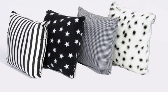 4 x Black and White Pattern Cushions