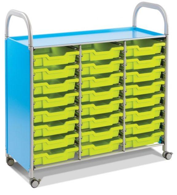 Callero Three Column Storage Trolley with 24 Shallow Trays