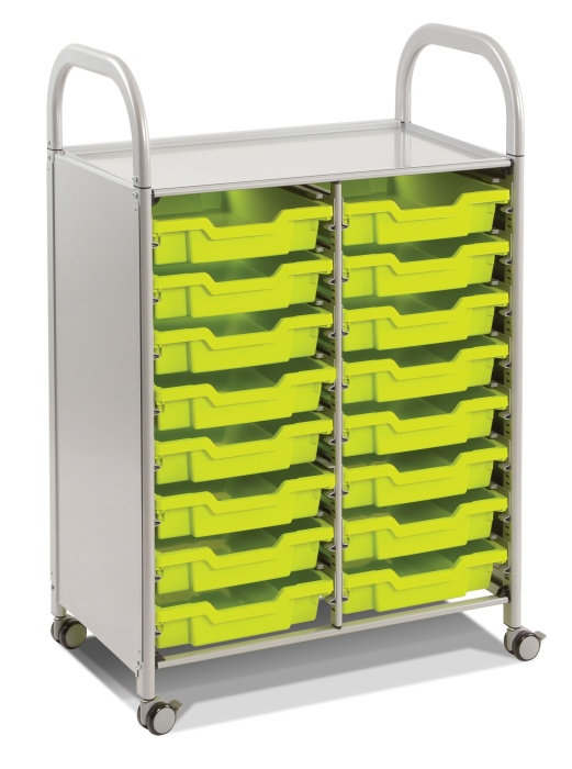 Callero Two Column Storage Trolley with 16 Trays