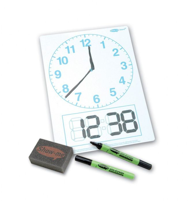 Show Me Clock-Faced Drywipe Boards