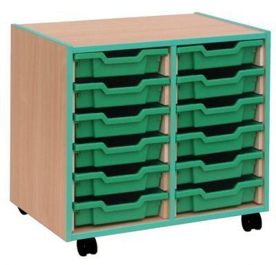 Coloured Edge 12 Shallow Tray Storage