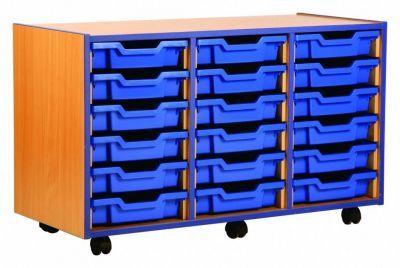 Coloured Edged 18 Shallow Tray Storage