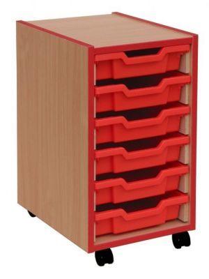 Coloured Edge 6 Shallow Tray Storage