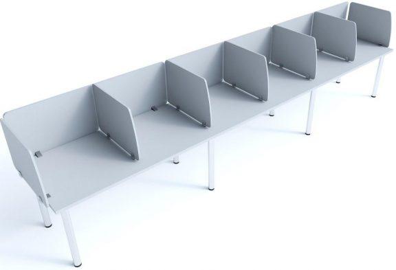 Cool 200 single run 6 person desk with MFC screens