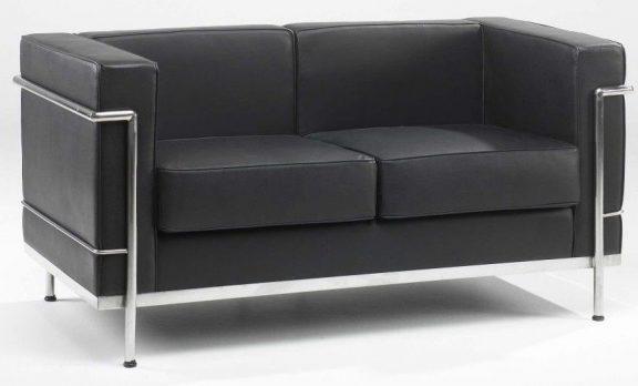 Corbusier Sofas in Black Leather
