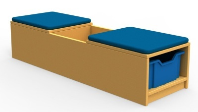 Curve Book Bench Unit with Cushion