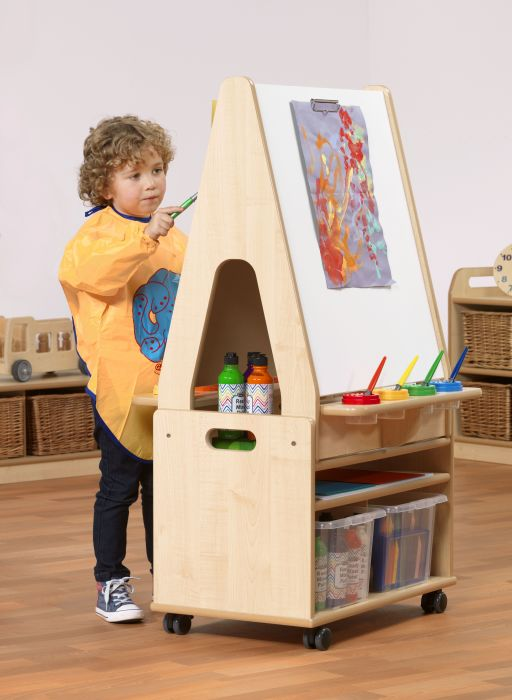 Double Sided 2in1 Easel & Storage Stand Trolley