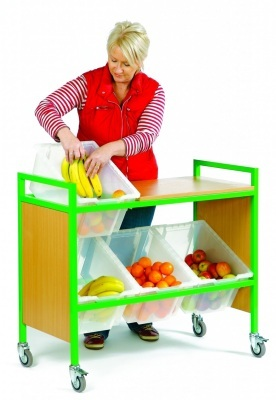 Fruit Trolley with Wooden Sides