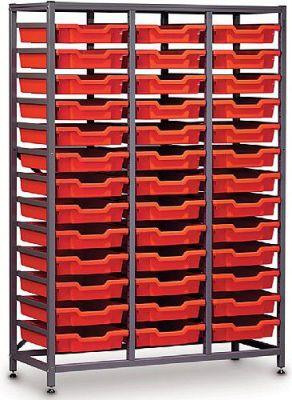 Gratnells 3 Column Mid Storage Rack with 39 Trays