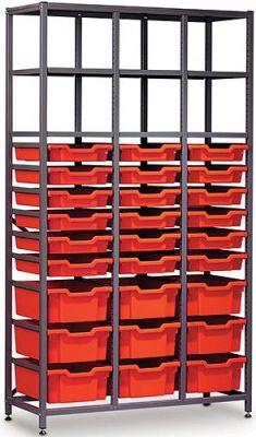 Gratnells 3 Column Storage Rack with 9 Deep Trays & 18 Shallow Trays