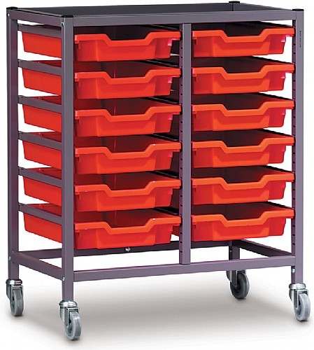 Gratnells Double Column Trolley with Twelve Trays