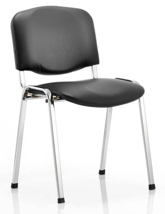 Isu Chairs in Black Vinyl with Chrome Frame