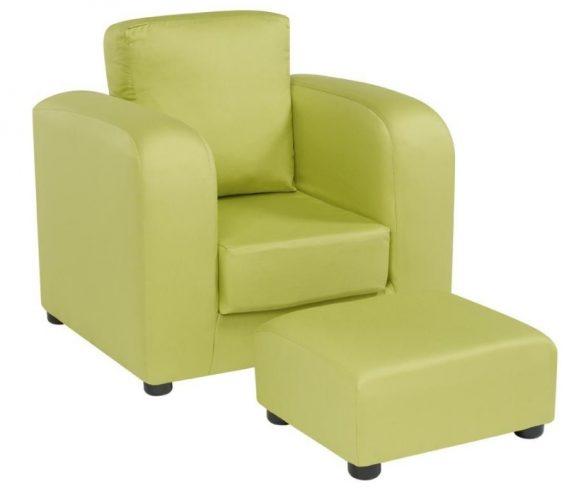 JK Plain Green Armchair and Footstool