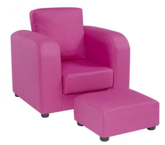 JK Plain Pink Armchair and Footstool