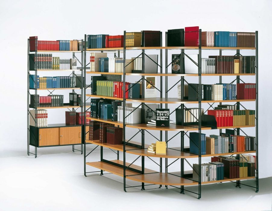 Libro Library Shelving - One support 3 shelves one cabinet - 1000mm Wide