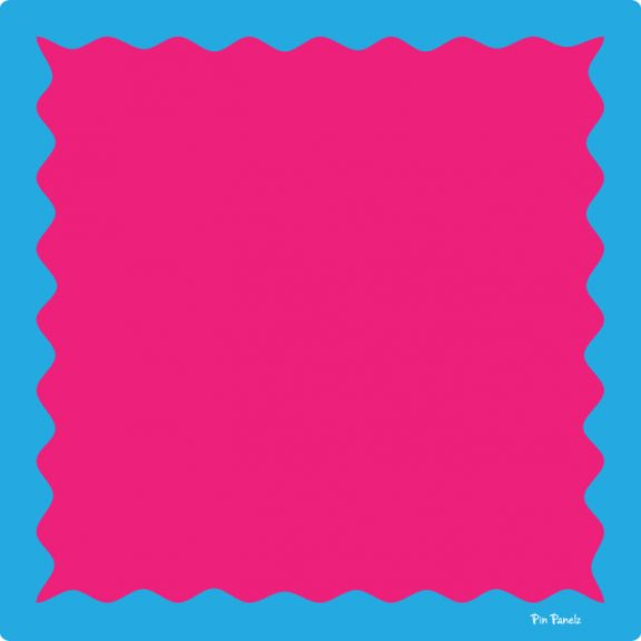 Pin Panelz Primary Pink with Blue Border