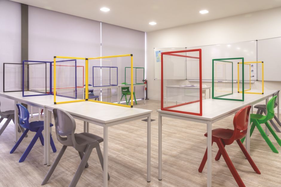 Protect Classroom Table Glass Protection Screen