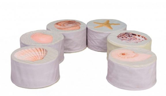 Set of 6 Shell Pouffes