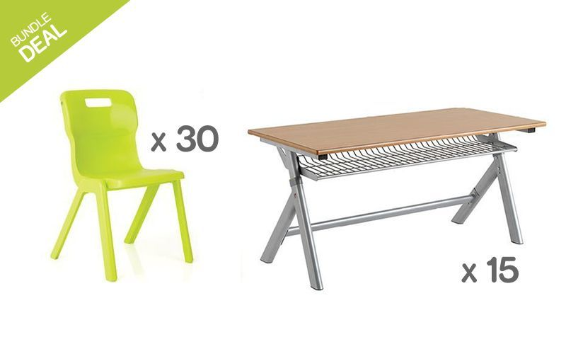 Titan Height Adjustable Tables & One Piece Chair Bundle