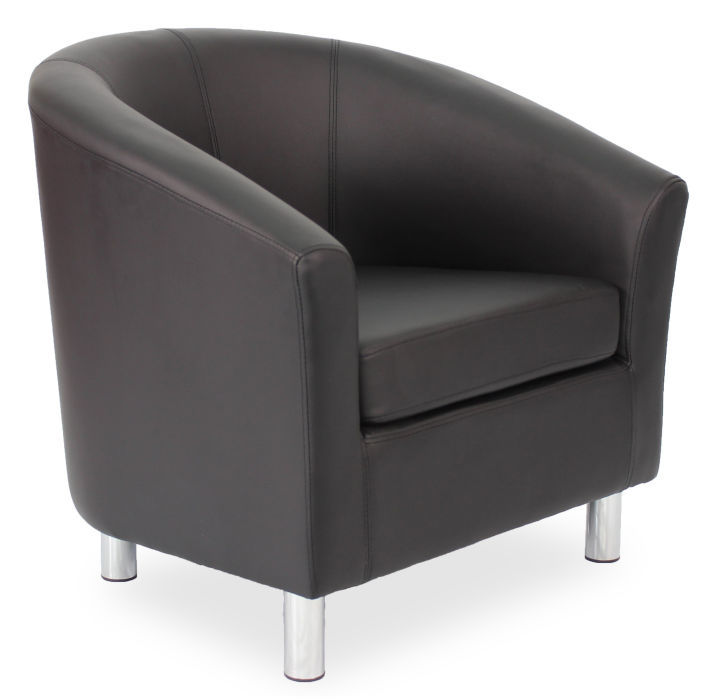 Voele Leather Tub Chairs - Chrome Feet